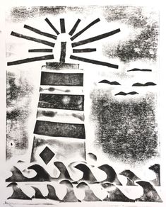 Lighthouse Collagraph Printmaking Project - Kids Art Classes, Camps, Parties and Events - Small Hands Big Art Collagraph Printmaking, 4th Grade Art, Kids Art Class, School Art Projects, Art Lessons Elementary, Art Lesson Plans, Old Art, Art Classroom, Art Club