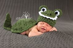 Newborn Baby Alligator Crocodile Hat & Cape Set Crochet Photo Prop on Etsy, $35.00 Baby announcement?