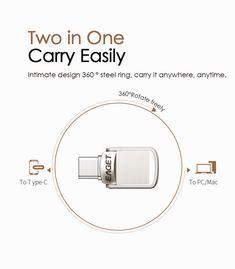 EAGET CU20 USB3.0 Type-C Pendrive USB OTG Type C 16GB 32GB 64GB Metal USB Flash Drive Dual Plug Office And School Supplies, Laptop Accessories, Usb Flash Drive, Usb Drive