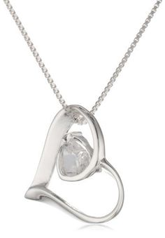 "Sterling Silver Open Heart Pendant with Heart Shaped Cubic Zirconia Stone Necklace, 18"" Amazon Curated Collection. $29.00. Made in Thailand"
