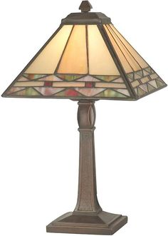 """This beautiful accent lamp from Dale Tiffany will be the perfect addition to your home Antique Brass Finish Tiffany Shade Poly Resin Base Material Width x """" Height Features Inline Switch Accepts 1 x 15 Watt Base Bulb (not included) Weight: lbs"""