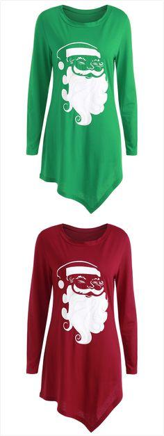 Christmas Santa Claus Asymmetrical T-shirt$10.39,sammydress,sammydress.com