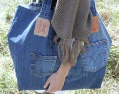 Large tote bag Jeans bag Denim bag XXL Beach bag Bags & by Lowieke