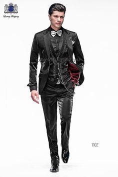 Italian bespoke black fashion suit in lightweight lurex fabric with steel-grey drako embroidered waistcoat, style 1102 Ottavio Nuccio Gala, 2015 Emotion collection.