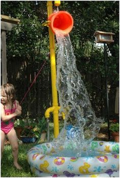 DIY PVC Pipe Bucket Dump #DIY #Outdoors #Summer #PVCPipes #Sprinklers #Kids #Toddlers #Buckets