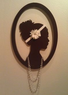 Brown Cameo - jewelry scarf holder wall art