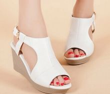 2015 summer new women's sandals Rome slope with waterproof leather high-heeled shoes fish head(China (Mainland))