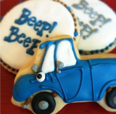 Little Blue Sugar cookies Beep Beep party by DolceBellabyErin, $36.00