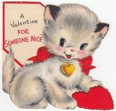 1950s Hallmark kitten Valentine