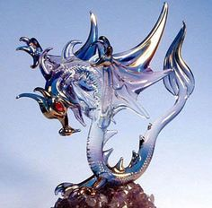 Blown glass dragon. Lots of versions, thank goodness for Mother's Day, birthdays, Christmas.