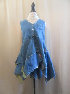 Lagenlook Tunic Washed Denim with Floral Embroidered Sleeveless Boho Layered with Vintage Lace One Size Fits S - L