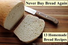 13 Homemade Bread Recipes – Never Buy Bread Again.Bread Recipes - Sandwich Bread, Basic Sourdough Bread, Potato Bread using Leftover Mashed Potatoes, Crusty French Bread, Gluten free and sprouted bread. New Recipes, Bread Recipes, Real Food Recipes, Cooking Recipes, Favorite Recipes, Sandwich Recipes, Croissants, Pain Au Levain, Potato Bread