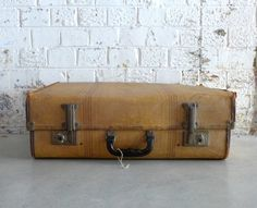 Vintage 1940's tan and red striped tweed suitcase with by evaelena