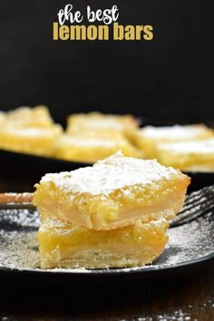 If you're looking for the best Lemon Bars recipe, this one is it. Buttery sh… If you're looking for the best Lemon Bars recipe, this one is it. Buttery shortbread crust with a sweet and tangy lemon filling! Lemon Dessert Recipes, Lemon Recipes, Sweets Recipes, Baking Recipes, Cookie Recipes, Delicious Desserts, Best Desserts, Tea Recipes, Best Lemon Bars