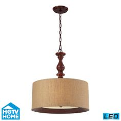 Elk Lighting 14141/3-LED Led Hgtv Home Nathan 20 Three Light Chain Hung Wooden Led Drum Pendant With Wheat Linen
