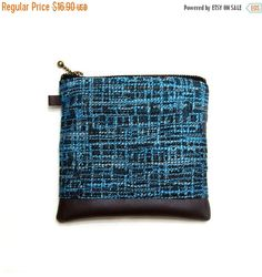 ON SALE - Zipper Change Purse  Zipper Pouch  Small Pouch Card Wallet - Blue and Black Woven Upholstery (15.21 USD) by soarshadow