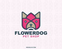 Flower Dog is a stylized logo in the shape of a dog together with a flower with the colors pink, brown and dark gray. (pet, dog, animal, pet shop, flower, pet care, pet store, veterinary, pet doctor, nature, cute, dog adoption, pet dog, small dogs,  logo for sale, logo design, logo, lototipo, logotype).