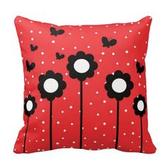 Red With White Dots Flowers Butterflies - This beautiful pillow is red with white dots as the background, with black butterfly silhouettes and sunflowers. This cushion has a happy and energetic feel and would make a wonderful focal point to any red, white black color schemed bed room or lounge room!