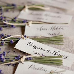 Lavender bunches from a local farm tied to calligraphed name tags