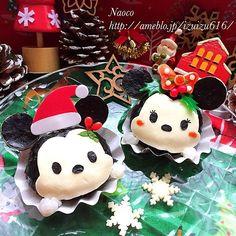 """""""TsumTsum Mickey and Minnie in Christmas   ツムツム★ミッキー&ミニーのクリスマス  おはようございます 今日の次女ちゃん幼稚園弁当は 軽食おにぎりの日 ツムツムミッキー&ミニーちゃん クリスマス仕様で登場です…"""""""