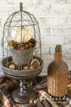Cloche Decor, Diy Mantel, Fall Vignettes, Metal Pumpkins, Entryway Decor, Foyer, Chicken Wire, Glass Domes, Fall Decor