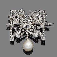 An early 20th century diamond and pearl brooch Of openwork floral design, millegrain-set throughout with old brilliant and rose-cut diamonds, suspending a pearl drop, diamonds approx. 1.00ct total, pearl untested, French assay mark, length 2.8cm