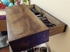 Rustic wood floating shelf with hidden compartment, rustic home decor, rustic shelves, wood wall shelf, reclaimed wood floating shelf by SheltonWoodworks on Etsy https://www.etsy.com/listing/248536824/rustic-wood-floating-shelf-with-hidden