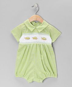 Take a look at this Green Turtle Smocked Romper - Infant by Fantaisie Kids on #zulily today!