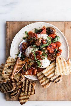 Charred cherry tomato tostadas with burrata