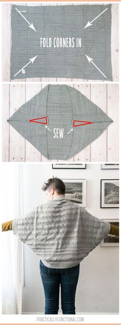 Cozy up this winter in a blanket turned DIY cocoon cardigan! This DIY is easy an… Cozy up this winter in a blanket turned DIY cocoon cardigan! This DIY is easy and takes just minutes – make it with your favorite blanket! Fabric Crafts, Sewing Crafts, Sewing Projects, Diy Projects, Diy Fashion Projects, Diy Crafts, Knitting Patterns, Sewing Patterns, Crochet Patterns