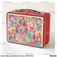 Shop sweet balloons multicolor red metal lunch box created by PAYSMAGE. Metal Lunch Box, Guitar Case, Business Supplies, Invitation Cards, Art For Kids, Create Your Own, Balloons, Art Pieces, Christmas Gifts