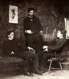U.S. Ashcan School artists, circa 1896, Everett Shinn, Robert Henri and John French Sloan