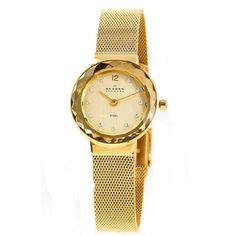 Skagen - Ladies Slimline Mesh Gold Tone Bracelet Watch - 456SGSG - Online Price: £109.00