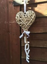 Rustic Wicker Heart Hanging White Love Letters Shabby Vintage Wedding Decoration