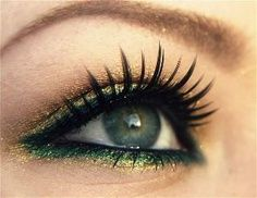 Green and gold dual eyeliner makeup for fancy evenings