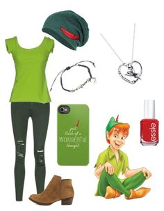 """""""Favorite Unofficial Prince: Peter Pan"""" by madalynkw ❤ liked on Polyvore featuring J Brand, Disney, Essie, La Petite Robe di Chiara Boni and Jessica Simpson"""