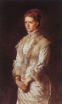 Konstantin Makovsky, Portrait of a Girl in a Blue Dress