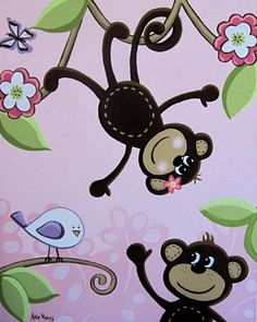 """Pink and Brown Monkey Nursery Art - 16x20"""" Acrylic Painting on Canvas. $90.00, via Etsy."""