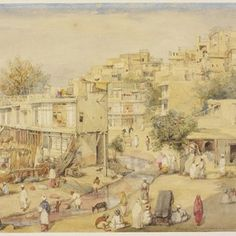 View of houses adjoining a stream, Peshawar by William Carpenter. Museum no. Different Media, Victoria And Albert Museum, Vintage World Maps, Street Art, Sculptures, Drawings, Etchings, Prints, Carpenter