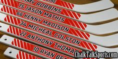 Get your own pair of custom mini hockey sticks, personalized with player name, number, color, and team name. Design a pair of hockey sticks as a gift today! Hockey Decor, Hockey Gifts, Softball Gifts, Cheerleading Gifts, Basketball Gifts, Hockey Coach, Hockey Mom, Hockey Teams, Hockey Stuff