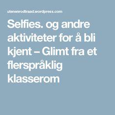 Selfies. og andre aktiviteter for å bli kjent – Glimt fra et flerspråklig klasserom