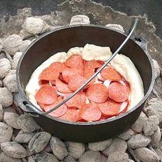 Dutch Oven Pizza, but I'd try something like it in a cast-iron pan with a lid instead.