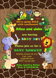Safari Baby Shower Invitation Burlap Baby Animal Jungle Baby