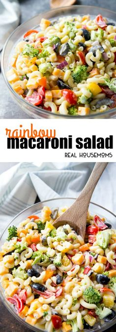 Easy Rainbow Macaroni Salad is a delicious pasta salad studded with rainbow-colored veggies to make a fun, delicious summer side. We eat this macaroni salad all year long! via Real Housemoms - Macaroni Salad Easy Pasta Recipes, Pasta Salad Recipes, Cooking Recipes, Healthy Recipes, Macorini Salad, Soup And Salad, Rainbow Pasta, Rainbow Salad, Rainbow Fruit