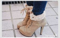 Shoes: tan boots ankle booties fur faux fur high heels laced
