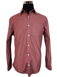 Old Navy Mens Large Long Sleeve Casual Shirt Burgundy Blue Striped Cotton #OldNavy #ButtonFront