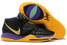 2019 Nike Kyrie 6 Black/Purple-Metallic Gold For Sale Black Nike Shoes, Nike Shoes For Sale, Puma Suede, Purple Rain, Pumas Rihanna, Air Jordan, Irving Shoes, Sneaker Posters, Sneakers Fashion