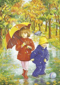 illustrations divers enfants 3 - Page 26 Umbrella Painting, Umbrella Art, Four Seasons Art, Art Mignon, Rain Art, Love Rain, Autumn Scenes, I Love Winter, Autumn Activities