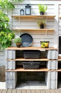 Side of the house Backyard Projects, Outdoor Projects, Garden Projects, Cinder Block Furniture, Cinder Blocks, Cinder Block Garden, Beton Design, Yard Design, Outdoor Living