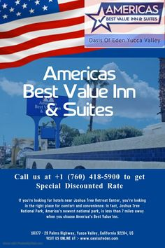 Experience at Americas Best Value Inn & Suites. Enjoy an extraordinary retreat with exclusive offers.?? BOOK NOW- www.oasisofeden.com or call now- +1 (760) 418-5900 ?? #AmericasBestValueInn&Suites #hotels #hotel #travel #hospitality #luxury #hotellife #hotelroom #vacation #restaurant #luxuryhotel #hotelier #luxuryhotels #food #restaurants #resorts #interiordesign #hoteles #holiday #resort #hoteldesign #travelgram #love #beach #summer #design #photography #boutiquehotel #luxurytravel… Yucca Valley, Holiday Resort, Summer Design, Luxury Travel, Hospitality, Resorts, Restaurants, Hotels, America